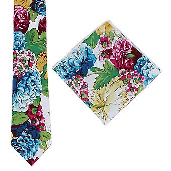 Knightsbridge Neckwear Bright Floral Cotton Tie and Pocket Square Set - Blue/Pink/Yellow