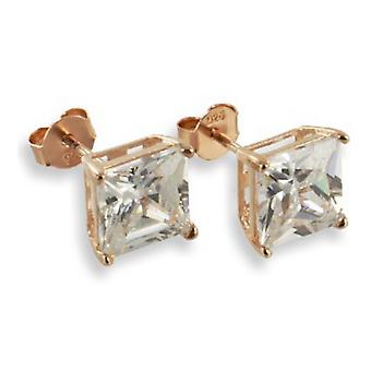 Ear Studs Earrings 925 Sterling Silver Rose Gold Jewellery, Square White Stones | 4 - 8 mm