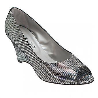 Sabrina Chic Metallic Peep Toe Wedge Heel Shoe