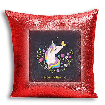 i-Tronixs - Unicorn Printed Design Red Sequin Cushion / Pillow Cover with Inserted Pillow for Home Decor - 14