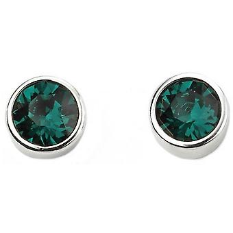 Beginnings May Swarovski Birthstone Earrings - Silver/Green