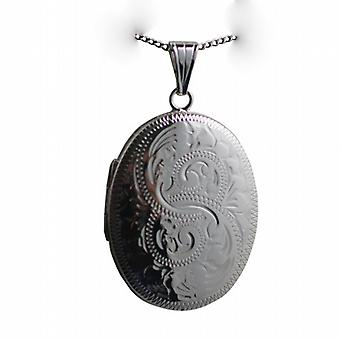 Silber 35x26mm Oval hand gravierten Medaillon mit einem Bordstein Kette 18 Zoll