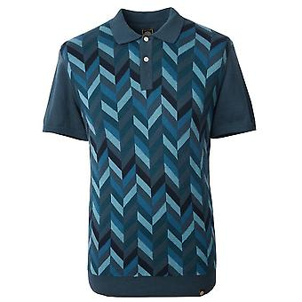 PRETTY GREEN Pretty Green Blue Chevron Blocked Knitted Polo