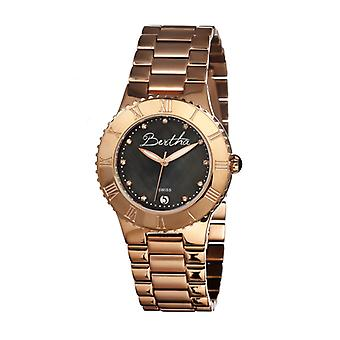 Bertha Millicent MOP Ladies Swiss Bracelet Watch - Rose Gold/Black