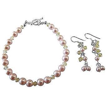 Håndlavede smykker bryllup brude Pink & Jonquil armbånd & øreringe sæt