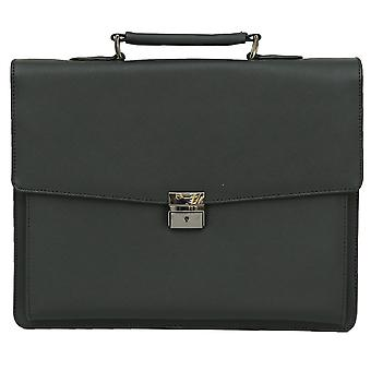 "Felda Vegan Leather Briefcase - 15.6"" Laptop Business Bag  - Black"