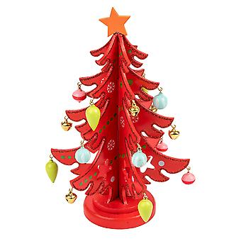 TRIXES Wooden Christmas Tree Ornament Decoration Colour Red