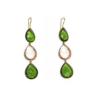 Gemshine oorbellen groene peridotes, Rozenkwarts druppels. 925 zilver of verguld