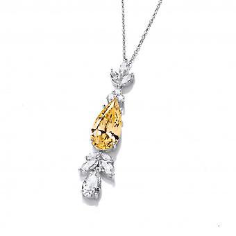 Cavendish Ranskan hopea ja citrine cubic zirkonia belle epoque tyyli kaulakoru