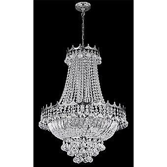 9 ljus 52 cm krom ljuskrona komplett med kristall - Searchlight 9112-52CC