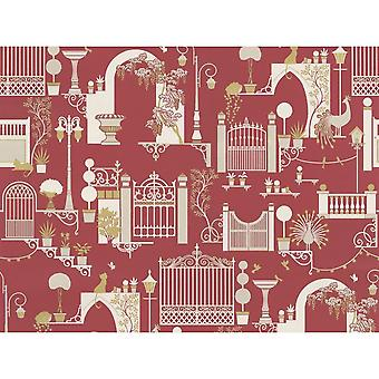 Garden Pattern Wallpaper Trees Birds Cats Lights Metallic Madeline Red White