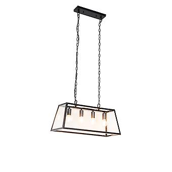 QAZQA lámpara de suspensión industrial 4 negro-Captiva