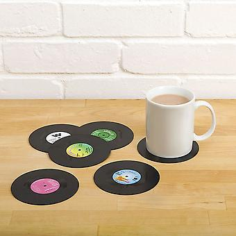 Retro Vinyl Coasters Set