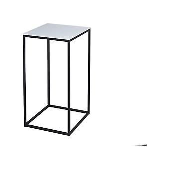 Gillmore White Glass And Black Metal Contemporary Square Lamp Table