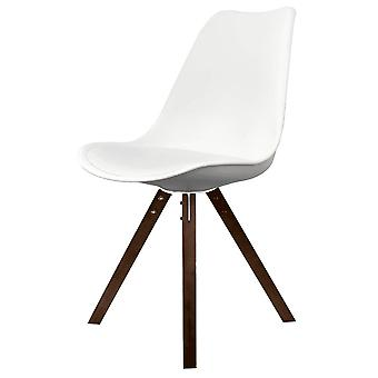 Fusion Living Eiffel Inspiré White Plastic Dining Chair With Square Pyramid Dark Wood Legs