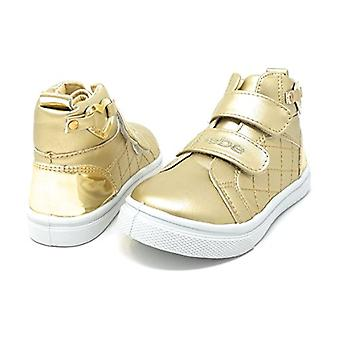 bebe Toddlers Girls High Top Velcro Strap Sneakers Shoes With Heart Embellishment