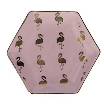 Gisela Graham Hexagon Gold Flamingo Drobiazg Danie