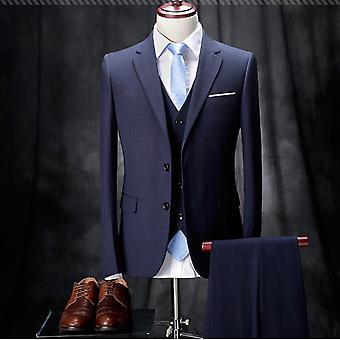 Allthemen Mens 3pcs Silm fit Plaid 3 Pieces Suit( Blazer &Vest &Pants )