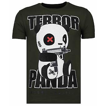 Terror Panda-Rhinestone T-shirt-Khaki