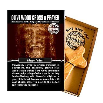 ベツレヘムで作られた貸し切りオリーブ木材の快適十字架宗教記念品の手のための祈り