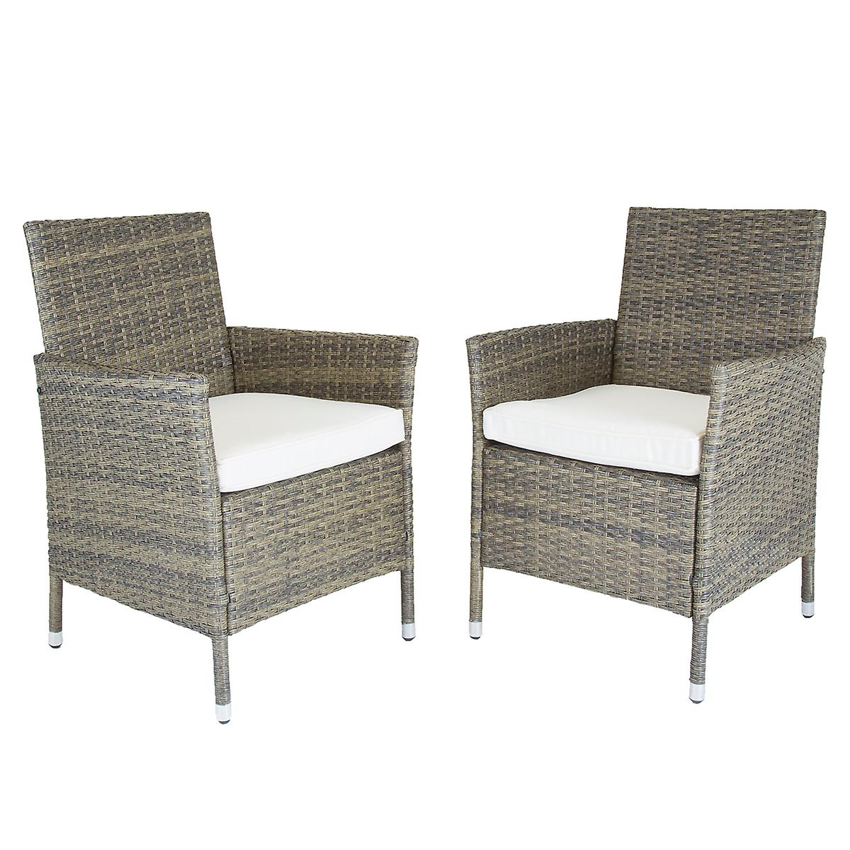 Charles Bentley Pair Of Rattan Dining Chairs Garden