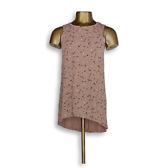 Chiunque donne&apos&s Top (XXS) Cozy Knit stampato Hi-Lo Hem Tank Rosa A296886