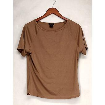 Iman T-Shirt Top Slip Into Slim Basic Tee Beige Womens 460-386