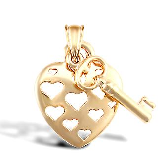 Jewelco London Ladies 9ct Yellow Gold Cut-out Love Hearts Key Charm Pendant