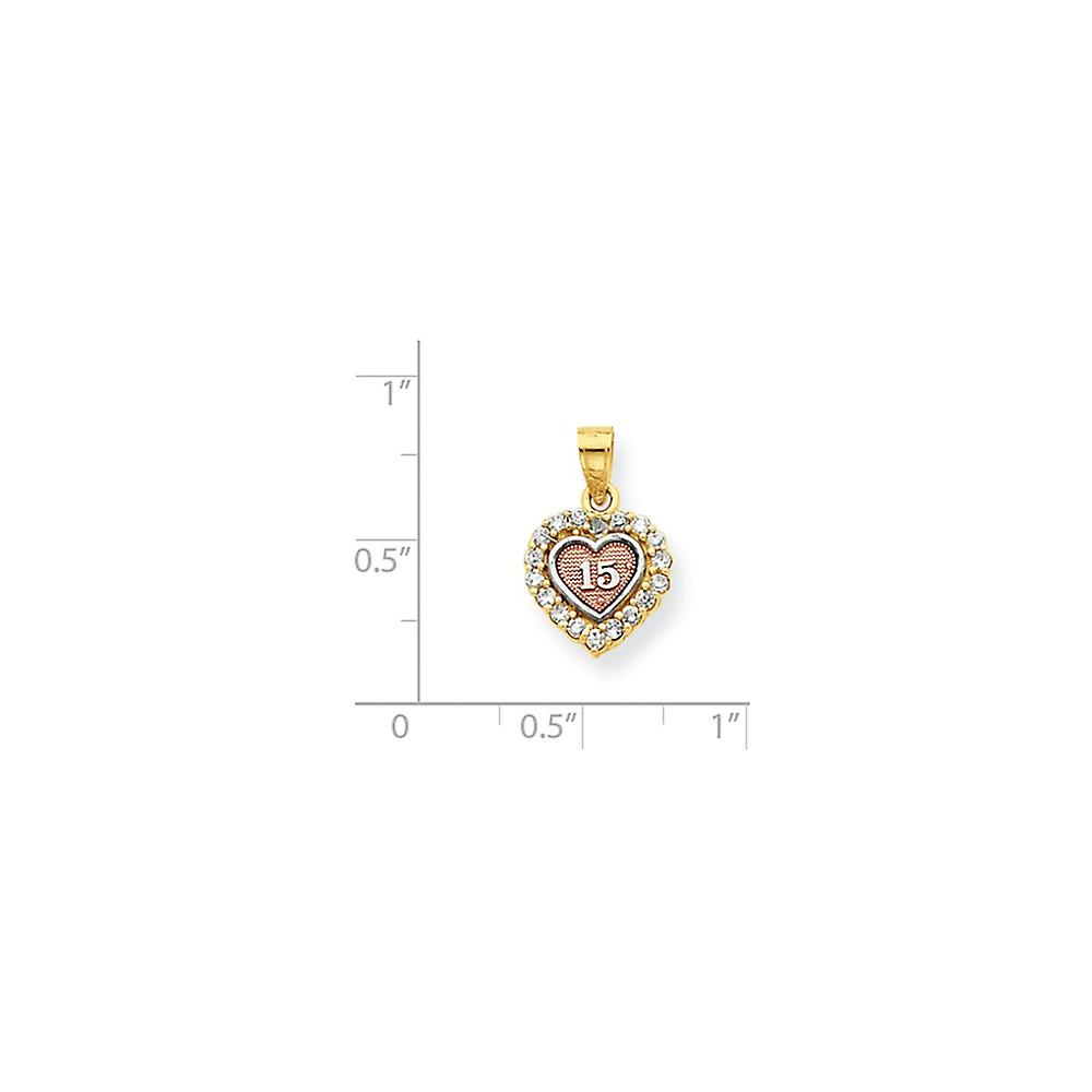 10k Two Tone Polished Open back Textured back Gold 15 CZ Cubic Zirconia Simulated Diamond Love Heart Charm Pendant Neckl