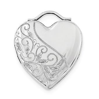 925 στερλίνα ασημένια 24 mm χαραγμένο αγάπη καρδιά Photo μενταγιόν κολιέ κρεμαστό κόσμημα κοσμήματα για τις γυναίκες