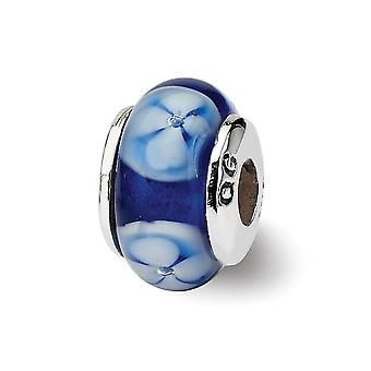 925 Sterling Silver Polished finish Reflections Kids Blue Murano Glass Bead Charm Pendant Necklace Jewelry Gifts for Wom