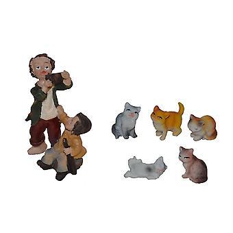 Accesorios de cuna Natividad escena buna cuna set jugando niños con gatos