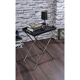 Astonishing Tray Table, Black Weave & Antique Gold