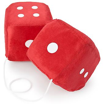 Pair of Red 3in Hanging Fuzzy Dice