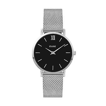 CLUSE Miniut Silver Stainless Steel Black Dial Ladies Watch CW0101203005