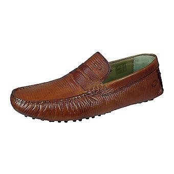 Basis London Morgan Herren Slip auf Schlange Leder fahren Loafers / Schuhe - Tan