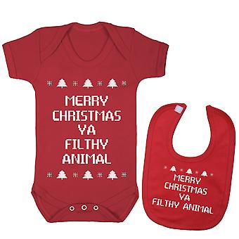 Hyvää joulua ya saastainen eläinten babygrow ja Bib kaksinkertainen pakkaus