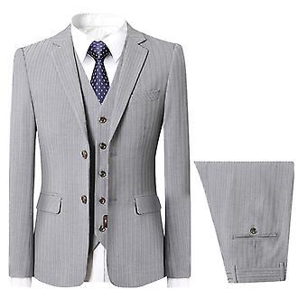 Allthemen miesten ' s 3-osainen puku raita häät Slim Fit Business rento puku