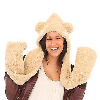 Womens zachte fleece Hooded sjaal met oren ontwerp winter thermische hoed