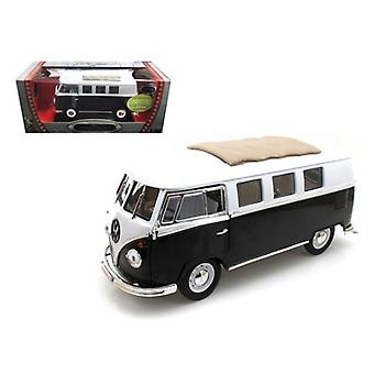 1962 Volkswagen Microbus Black avec tissu coulissant Sunroof Limited Edition à 600pc 1/18 Diecast Model by Road Signature
