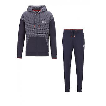 Hugo Boss Cotton Slim Fit Zipped Hooded Navy Tracksuit