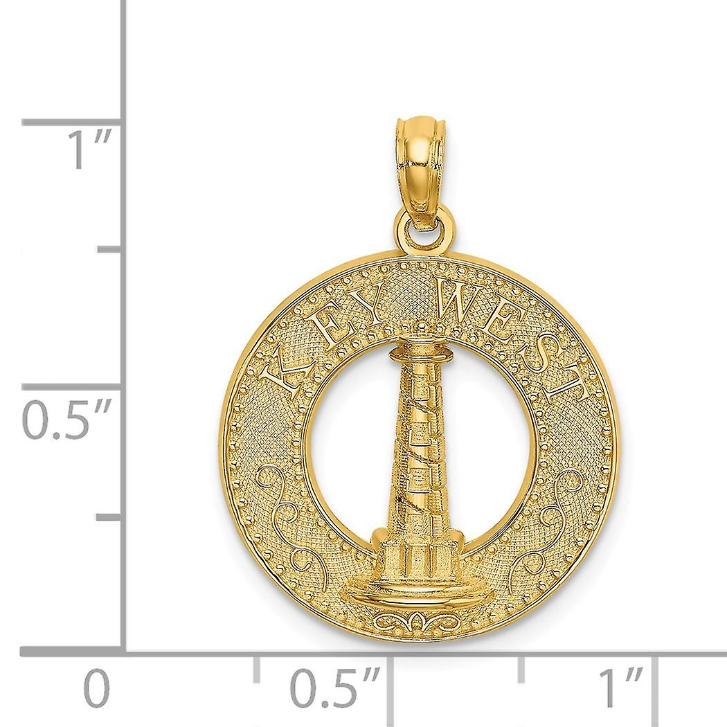 14k Gold Key West Round Frame With Lighthouse Center Charm Pendant Necklace Jewelry Gifts for Women