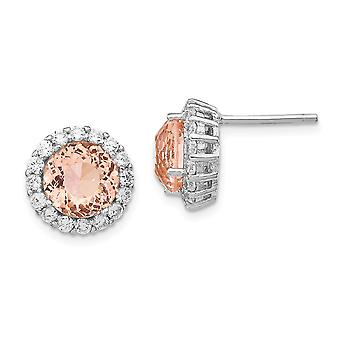 12mm Cheryl M 925 Sterling Silver Cubic Zirconia and Simulated Morganite Post Earrings Jewelry Gifts for Women