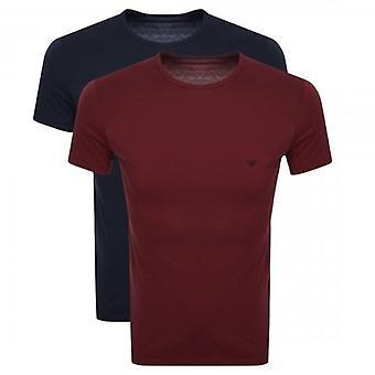 Emporio Armani 2 Pack Logo Underwear T-Shirts Navy & Burgundy 111267 9A722