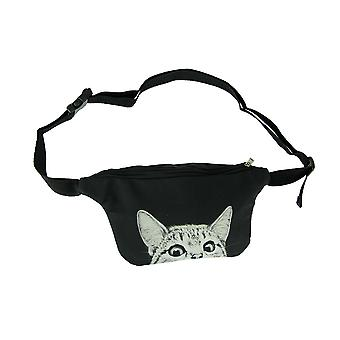 Black and White Peeking Cat Adjustable Fanny Pack