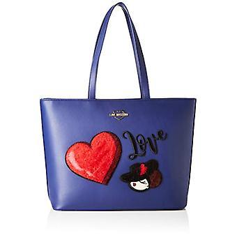 Liebe Moschino Pu Blau Damen Einkaufstasche (Blau) 30x12x43 cm (B x H x L)
