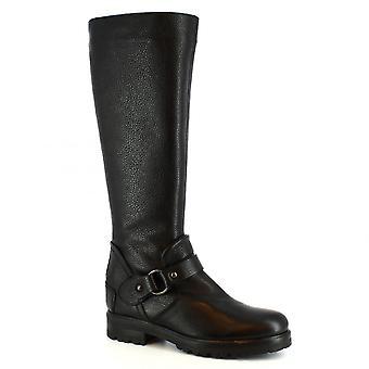 Leonardo Sko Kvinner's håndlagde knehøye støvler svart kalv skinn pels inne