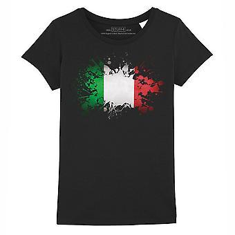 STUFF4 Girl's Round Neck T-Shirt/Italy/Italian Flag/Black