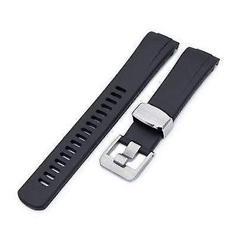 Strapcode rubber watch strap 22mm crafter blue - black rubber curved lug watch band for seiko turtle srp777