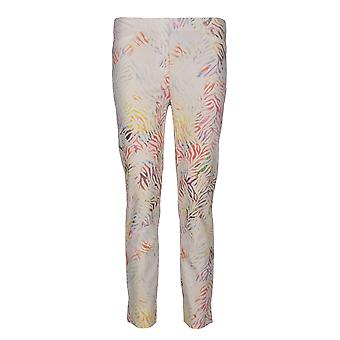 Robell Rose Animal Print Pantalón en Blanco Off